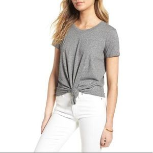 Madewell Gray Knot Front Tee